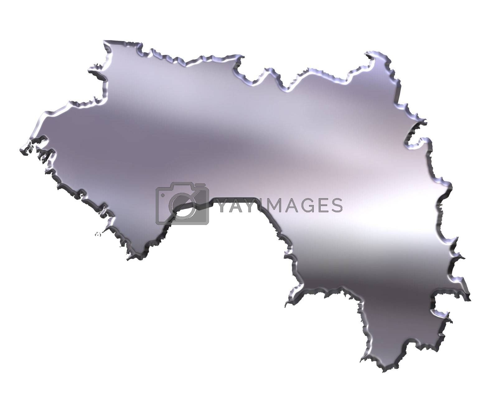Royalty free image of Guinea 3D Silver Map by Georgios