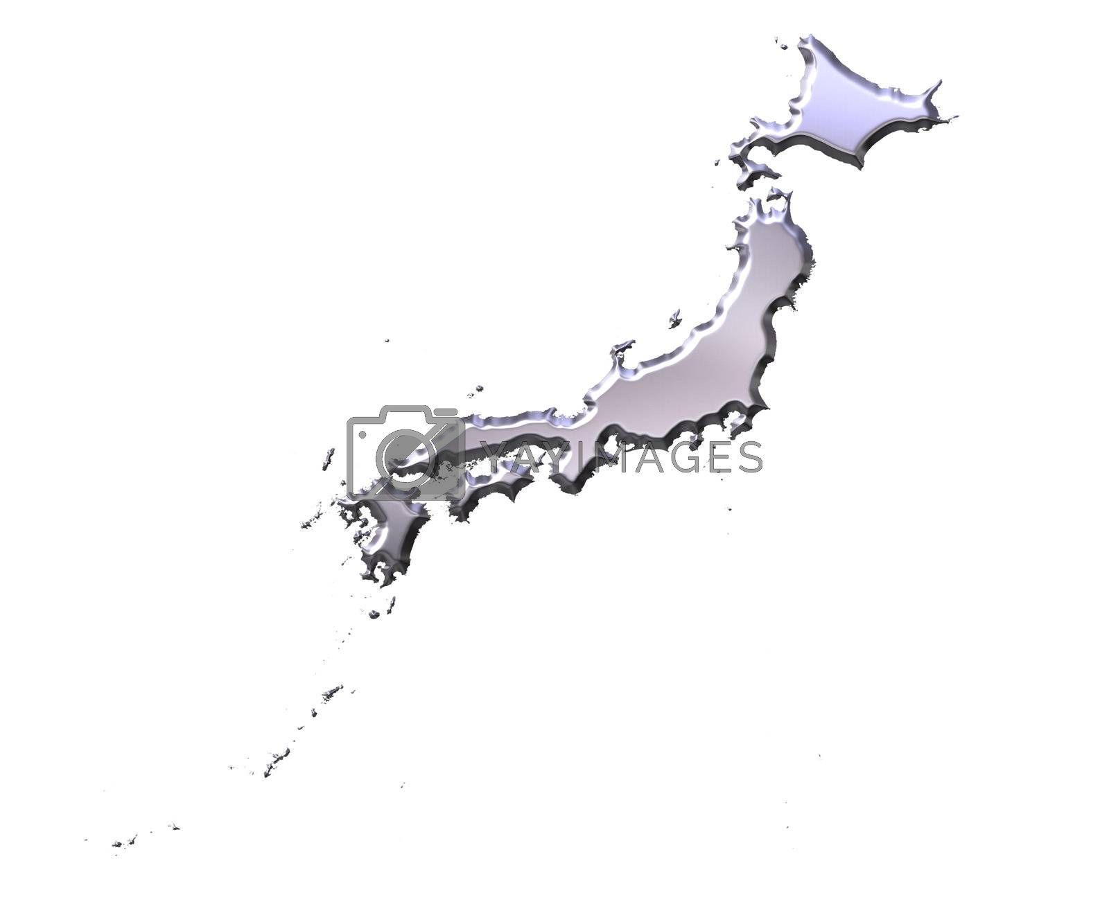 Royalty free image of Japan 3D Silver Map by Georgios