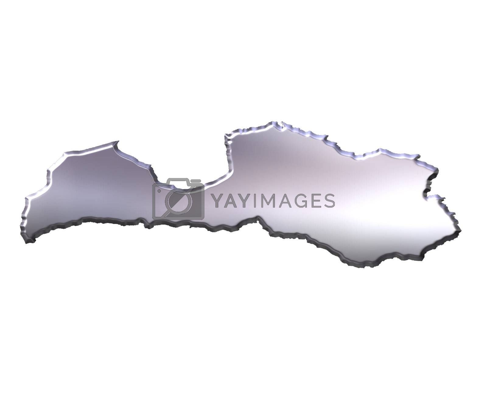 Royalty free image of Latvia 3D Silver Map by Georgios