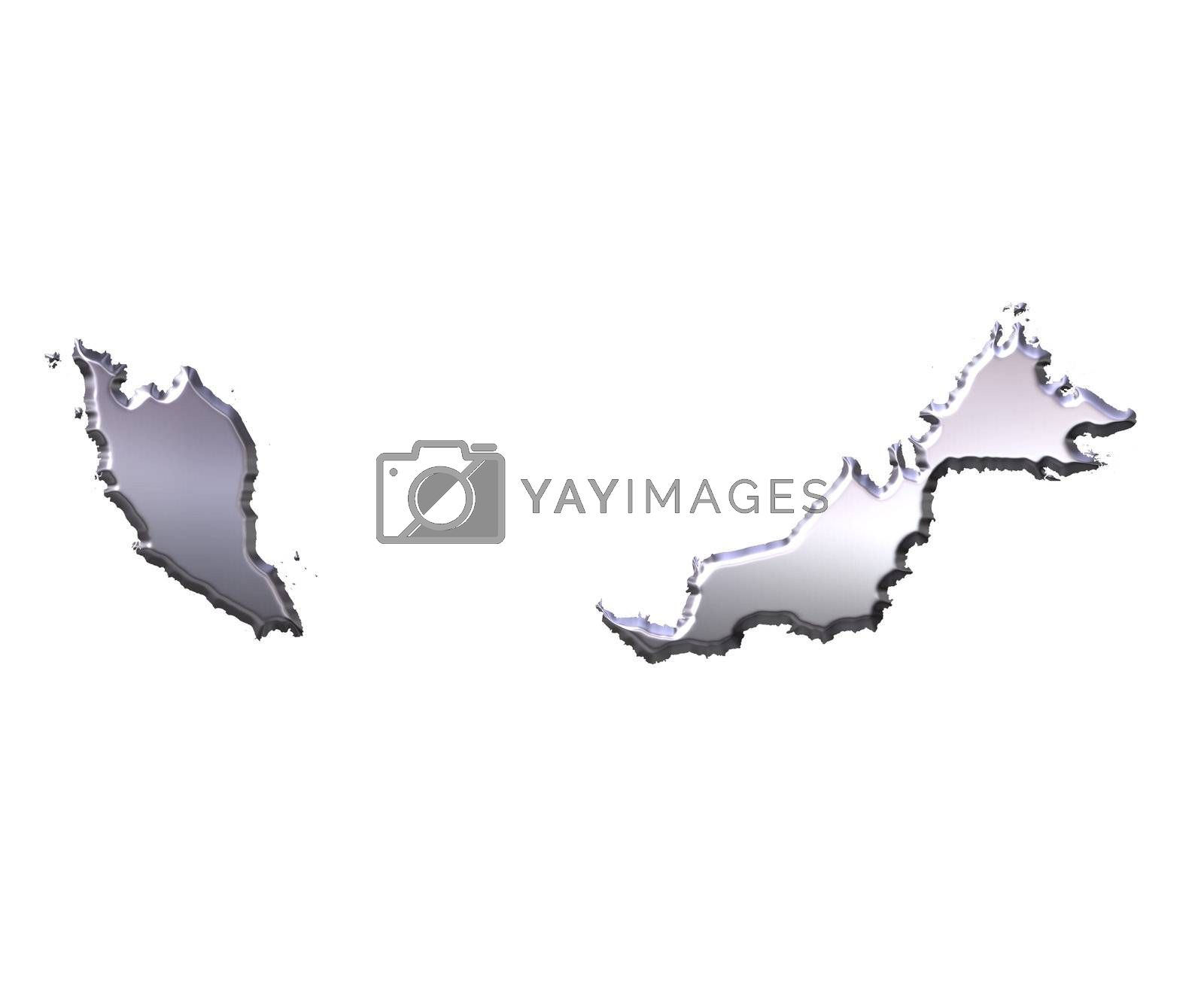 Royalty free image of Malaysia 3D Silver Map by Georgios