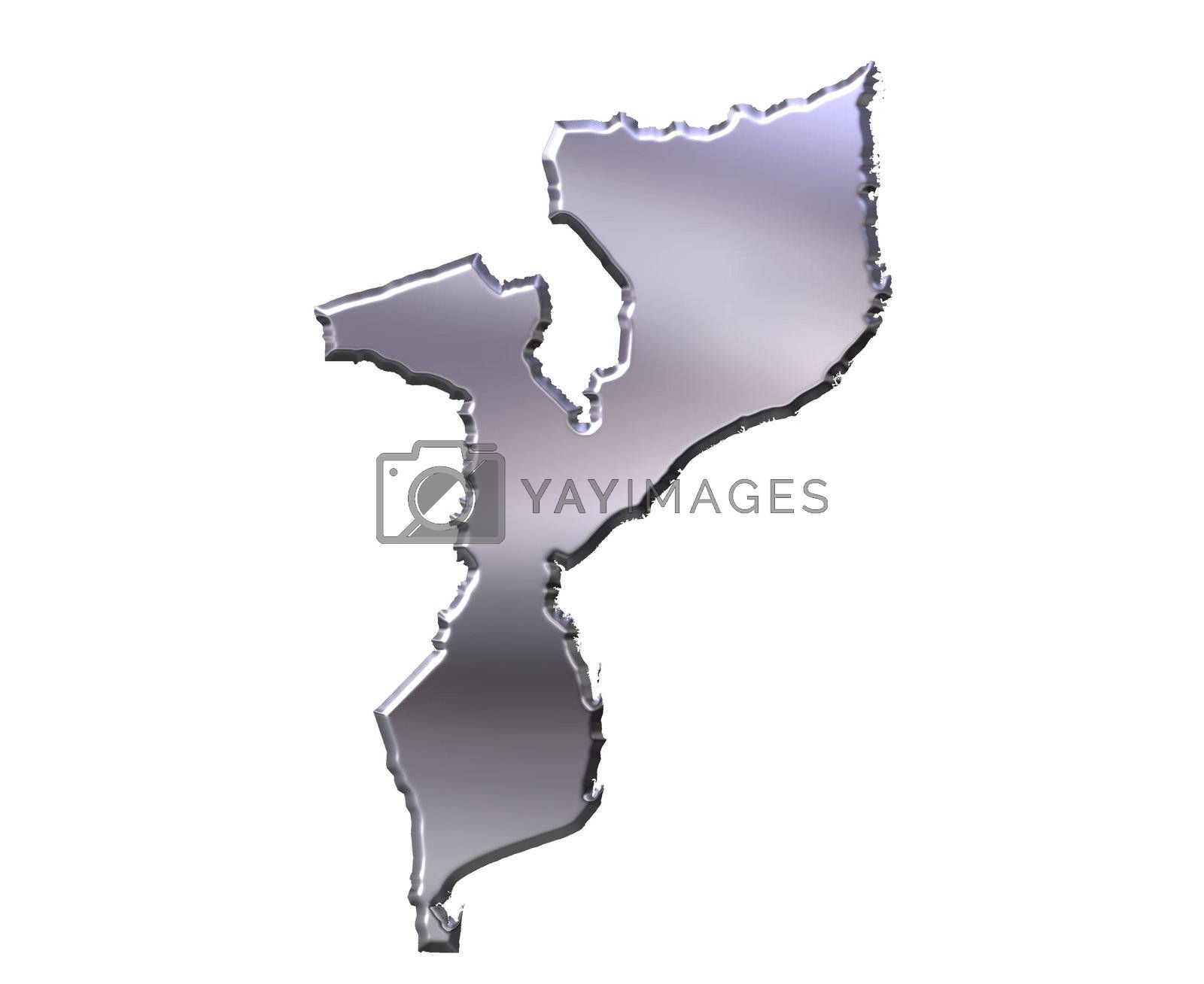 Royalty free image of Mozambique 3D Silver Map by Georgios
