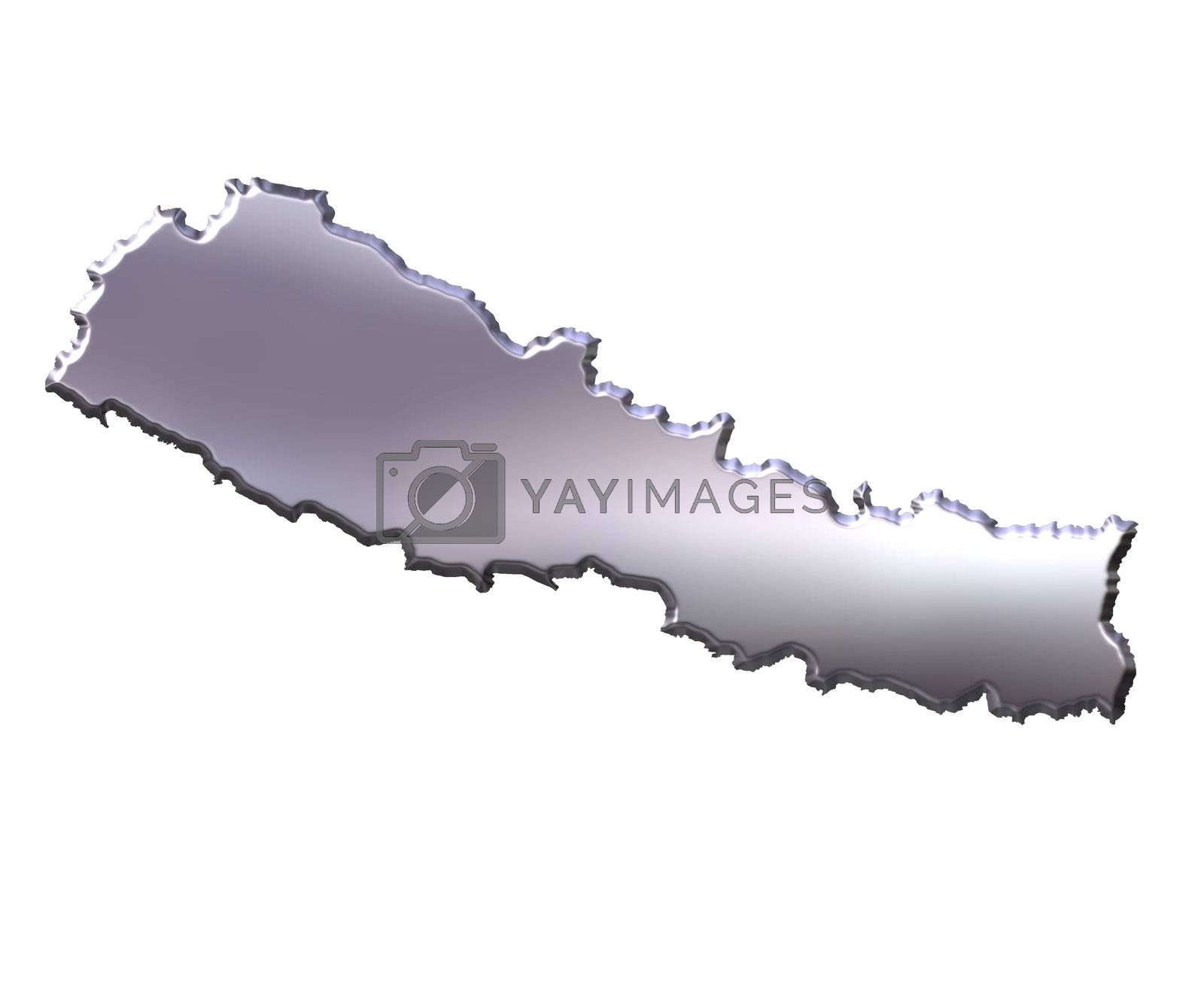 Royalty free image of Nepal 3D Silver Map by Georgios
