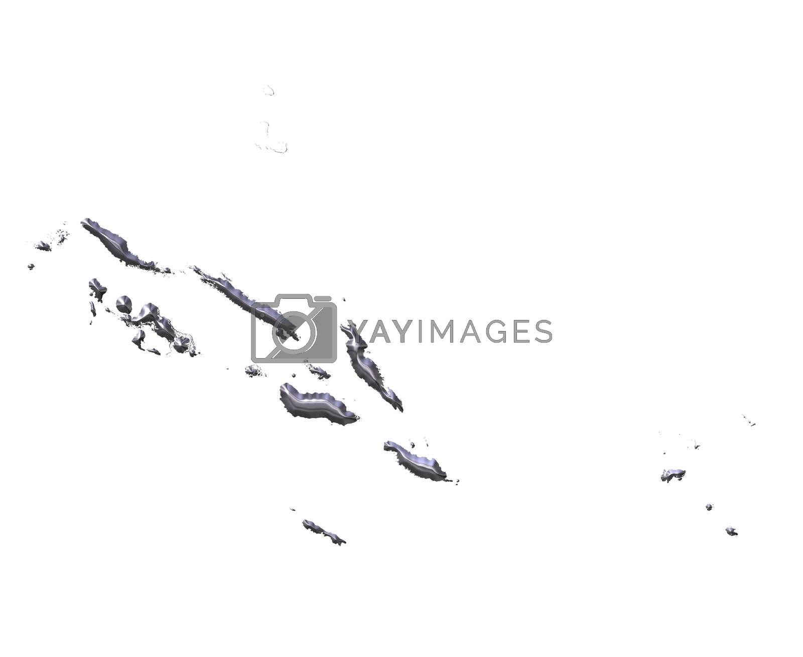 Royalty free image of Solomon Islands 3D Silver Map by Georgios