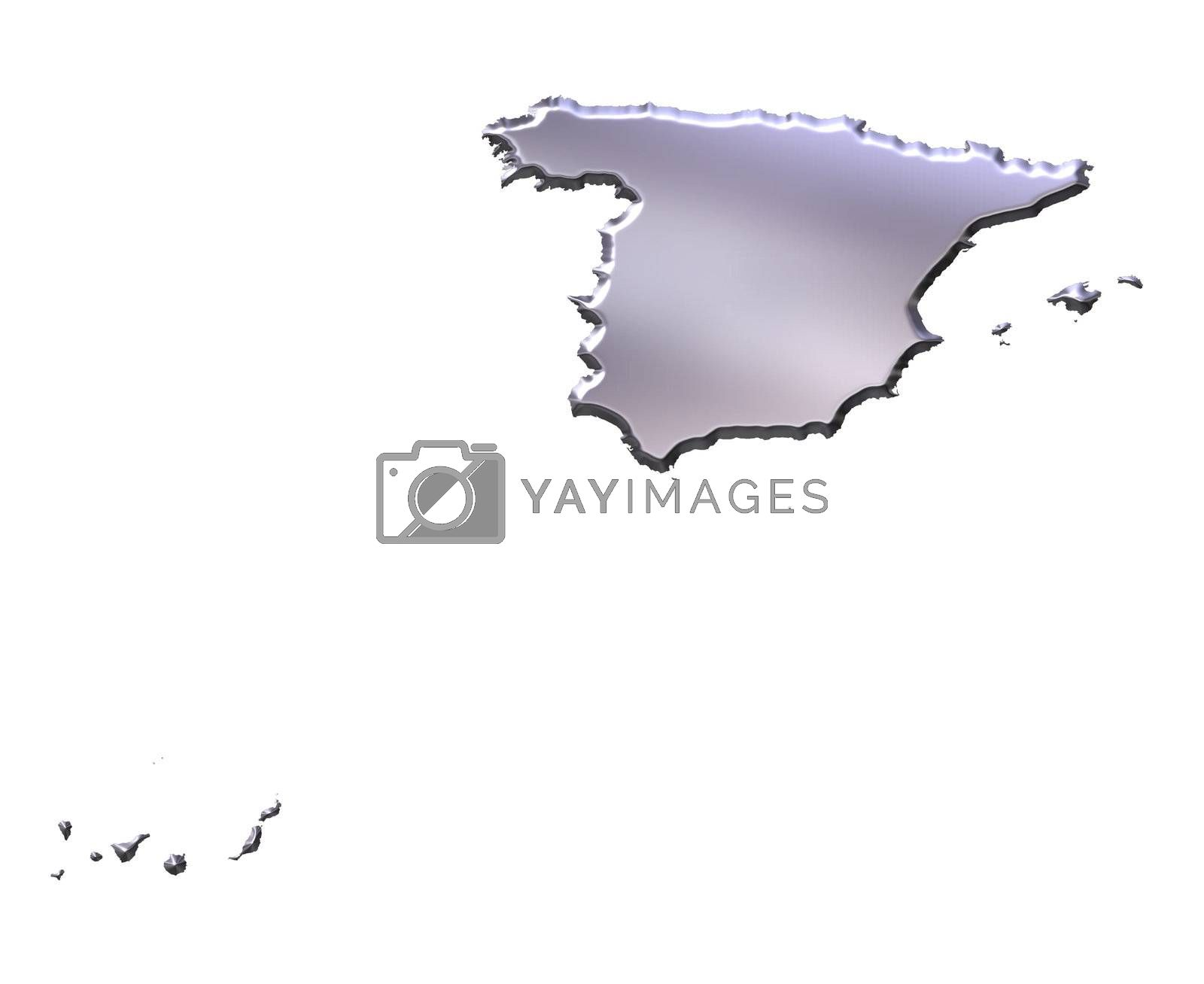 Royalty free image of Spain 3D Silver Map by Georgios