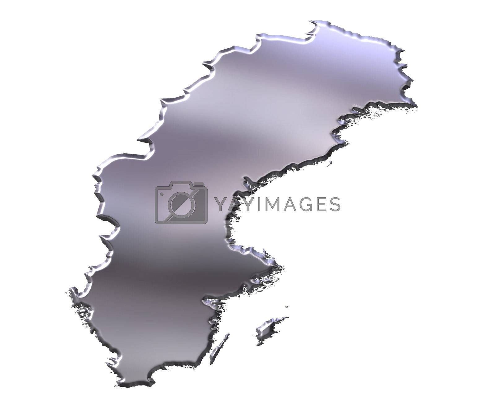Royalty free image of Sweden 3D Silver Map by Georgios