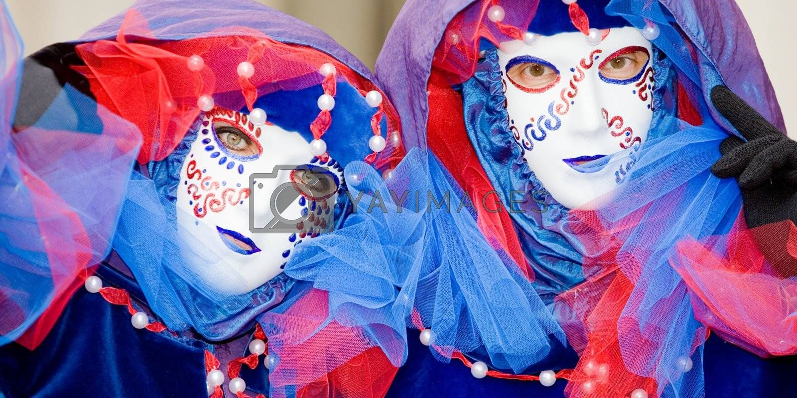 Two people in masks at the Venice Carnival