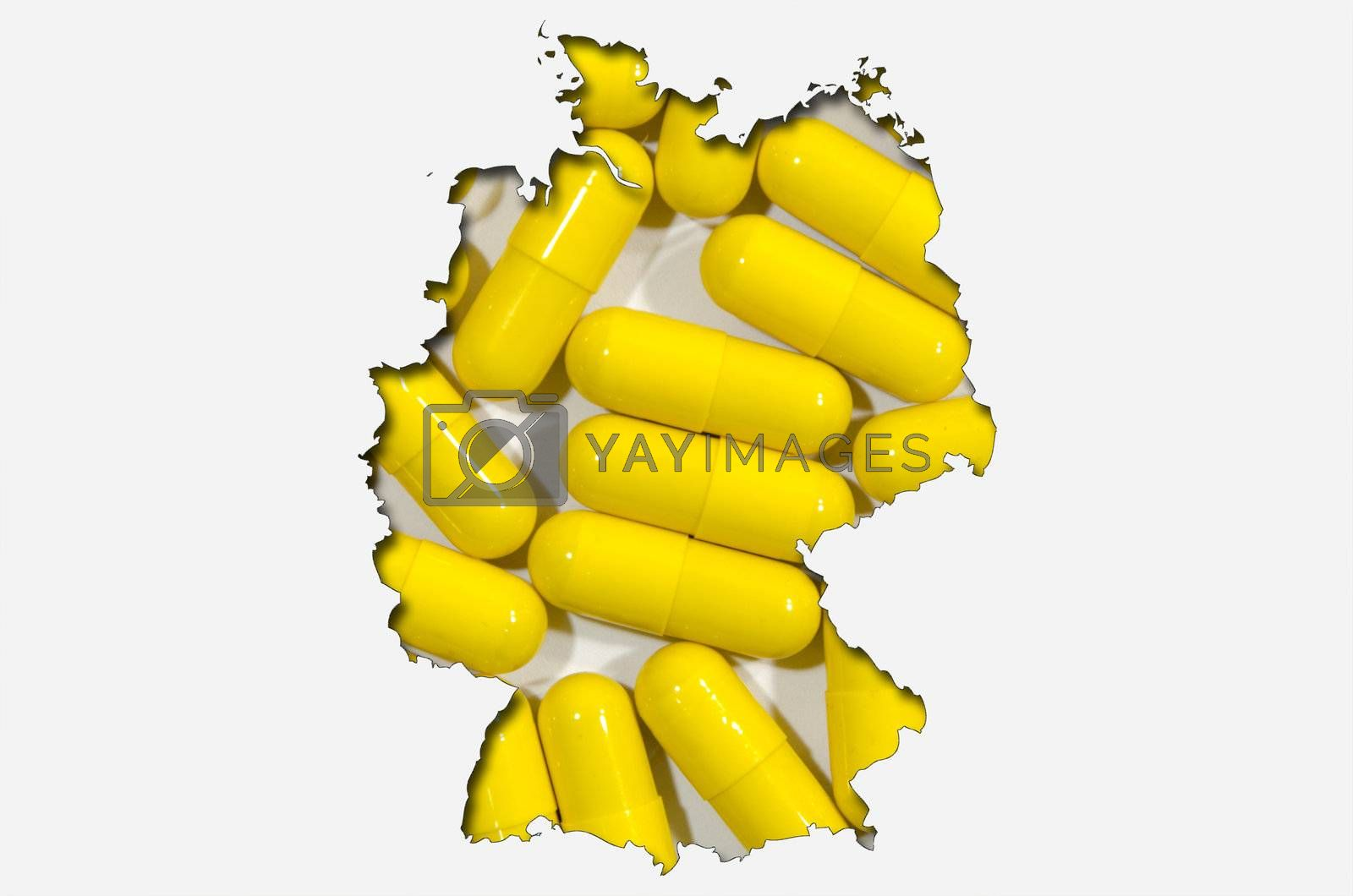 Outlined map of Germany with transparent background of pills