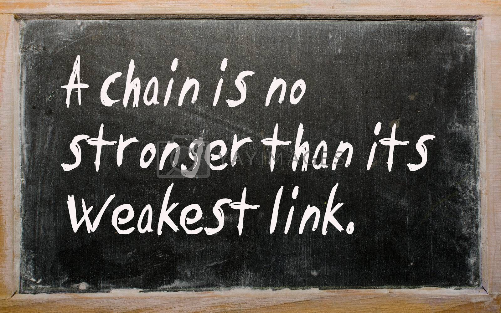 """Blackboard writings """"A chain is no stronger than its weakest link"""""""
