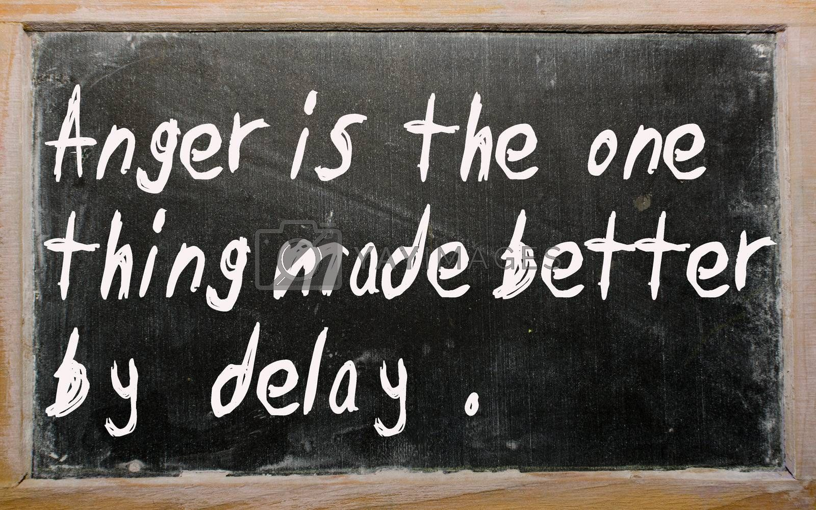 """Blackboard writings """"Anger is the one thing made better by delay"""""""