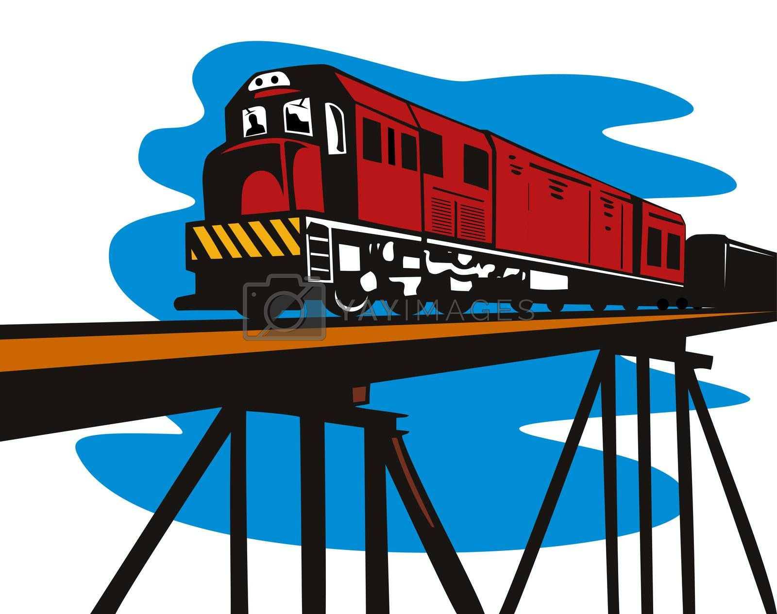 illustration of a diesel train locomotive coming up on viaduct bridge done in retro  style on isolated background