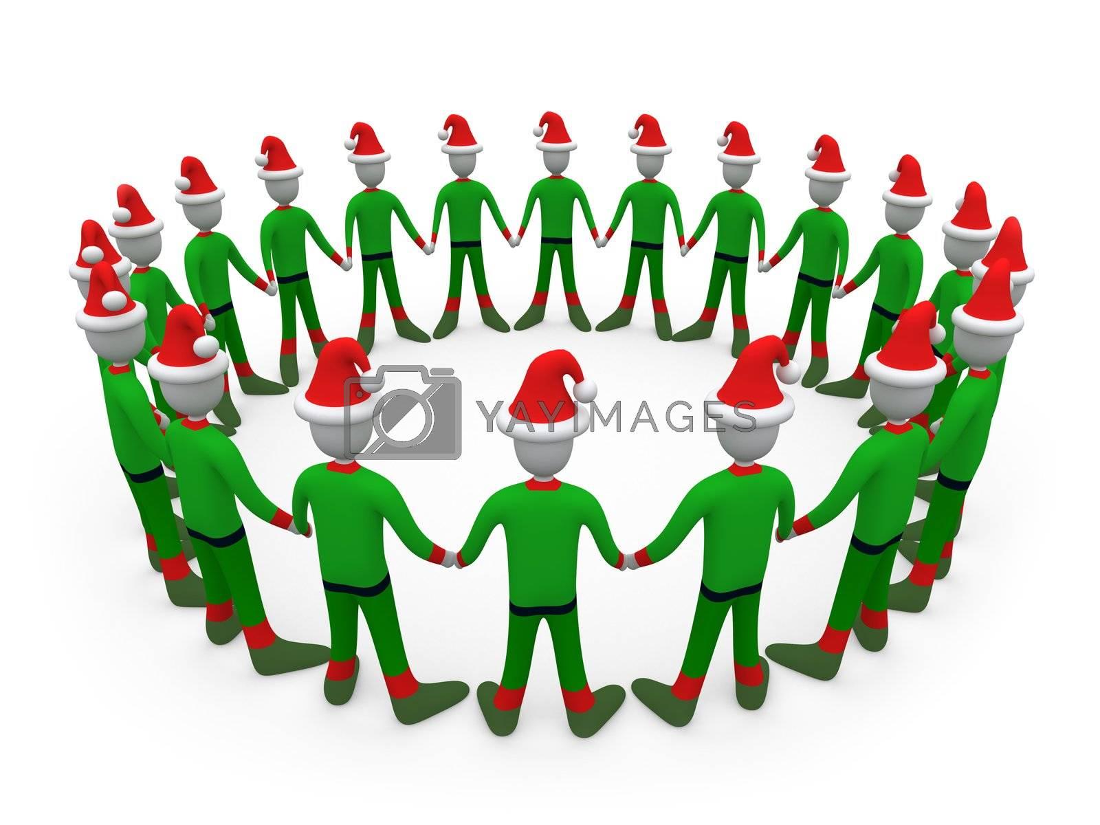Computer generated image - Santa's Helpers in Circle.