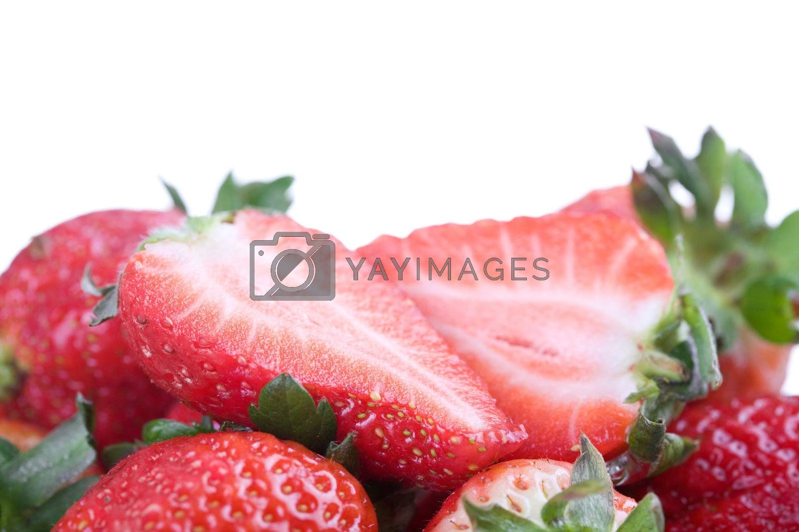 Strawberries isolated on white background. Studio shot.
