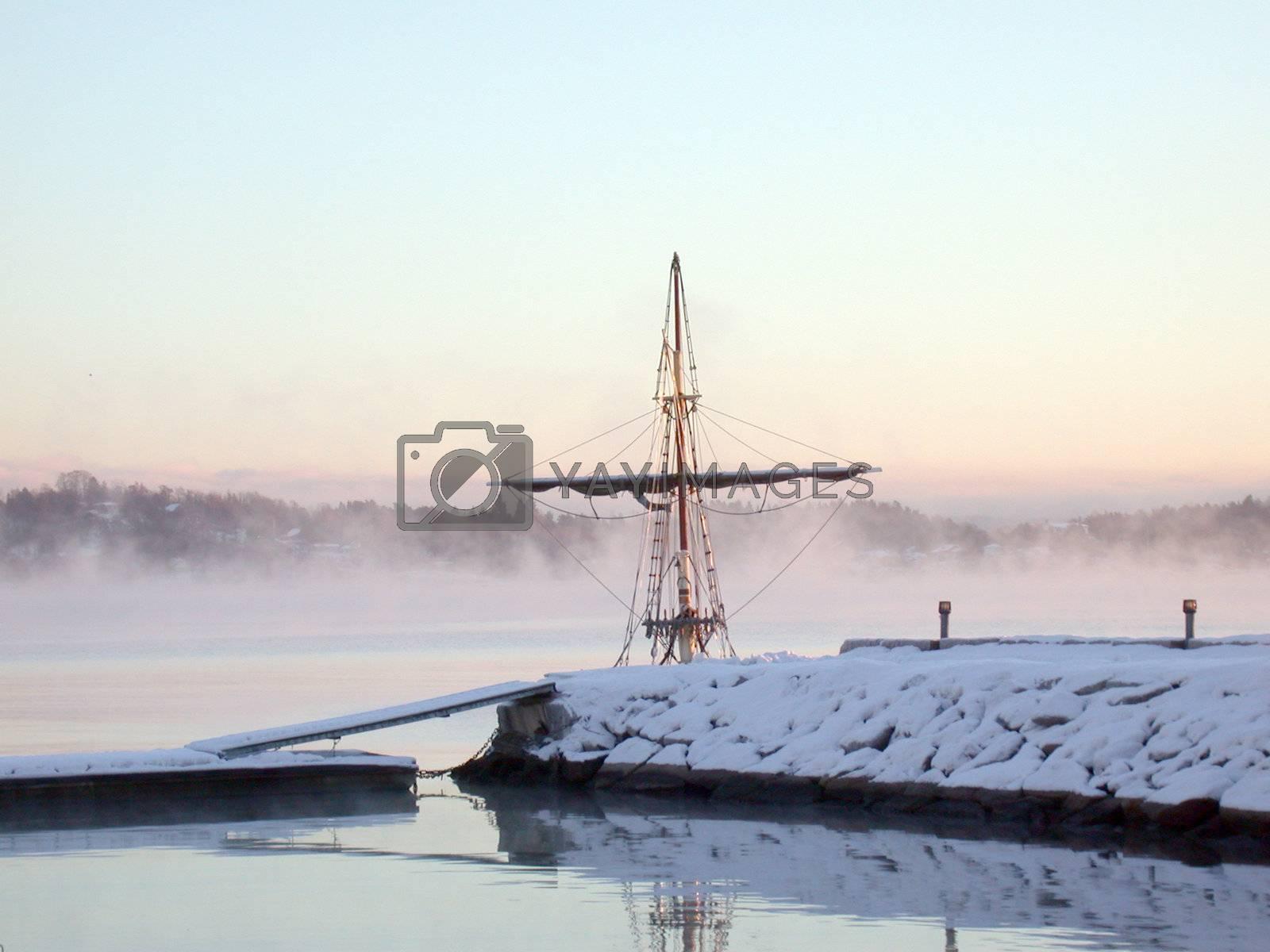 sailbridge at misty morning in december