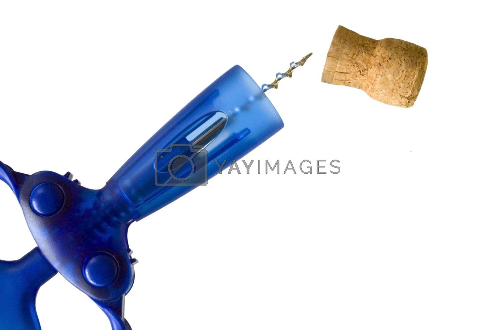 Vivid blue corkscrew and cork isolated against white background