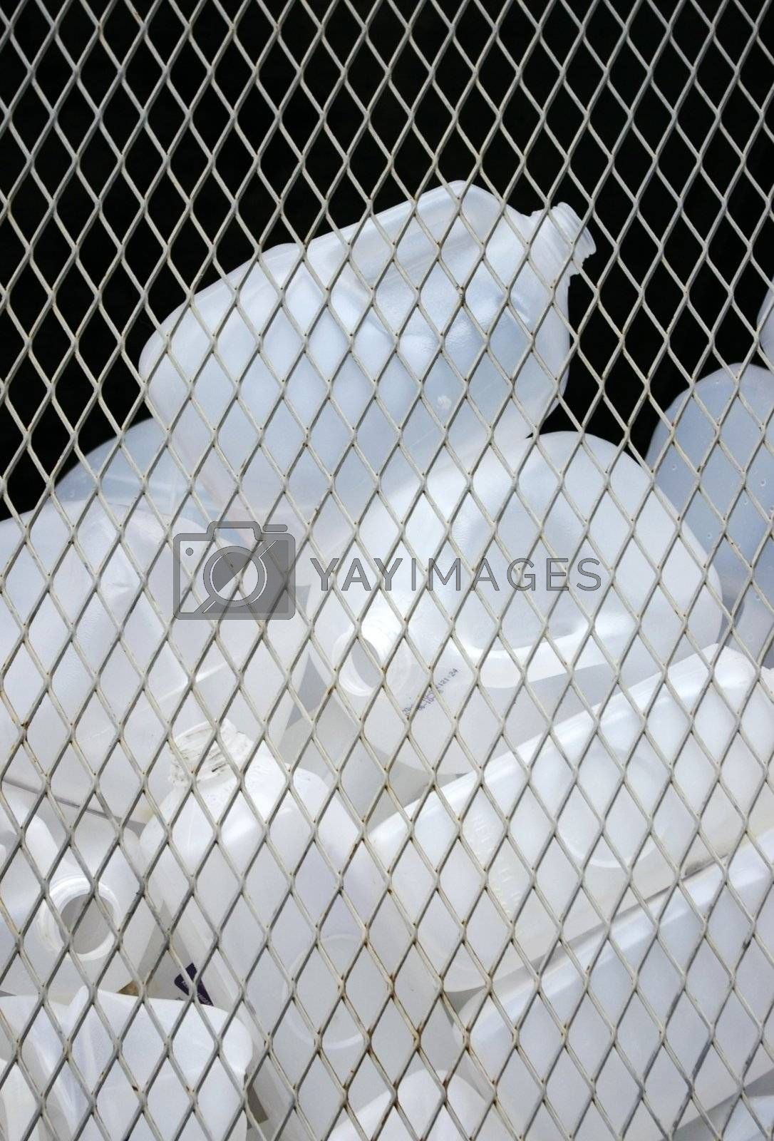 Empty plastic containers waiting in a bin at a recycling center.