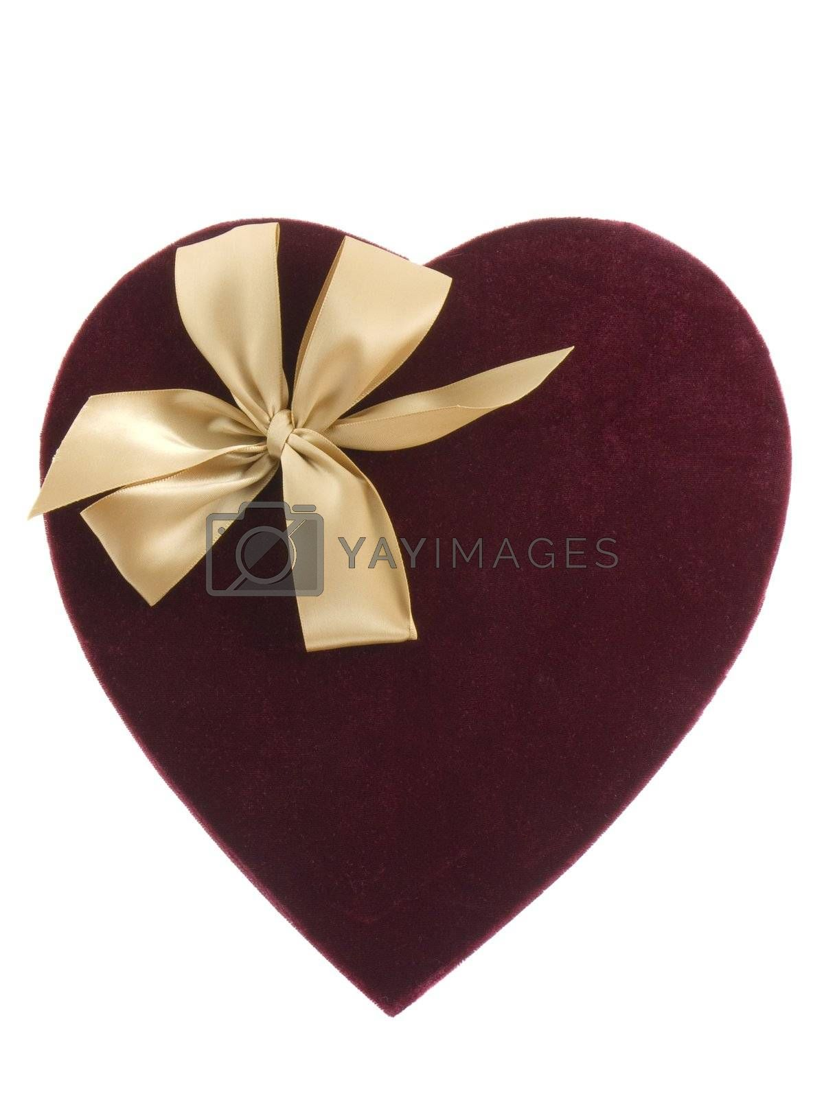 Heart shaped valentines candy box isolated on white