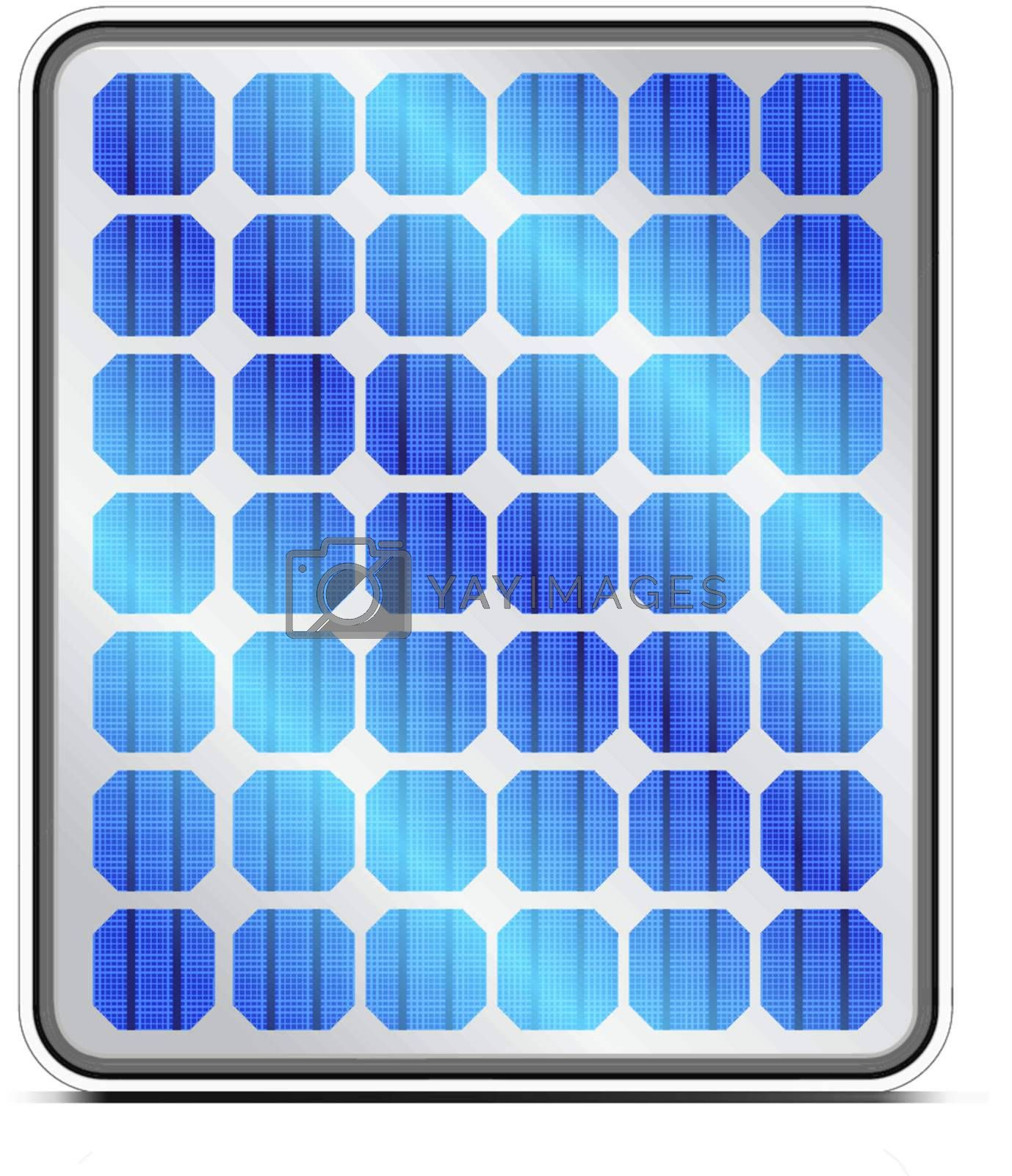Reflection in solar panels. Vector illustration on white