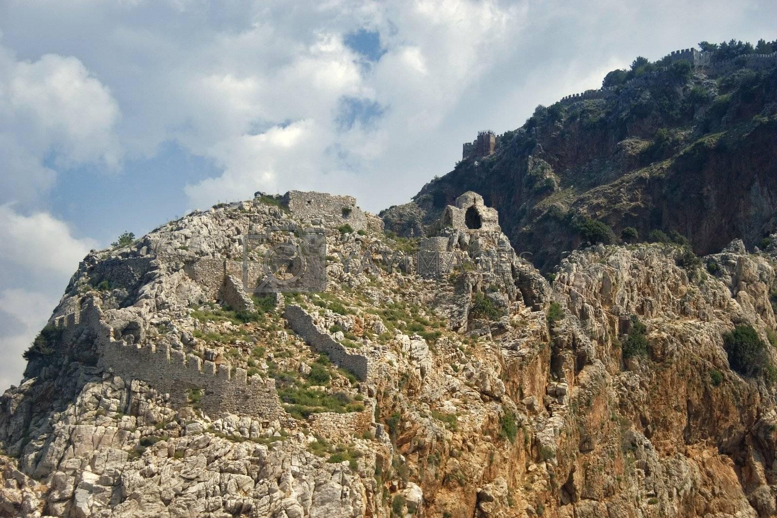 Old fortress with a church at Byzantine style. Alanya  peninsula (Turkey).