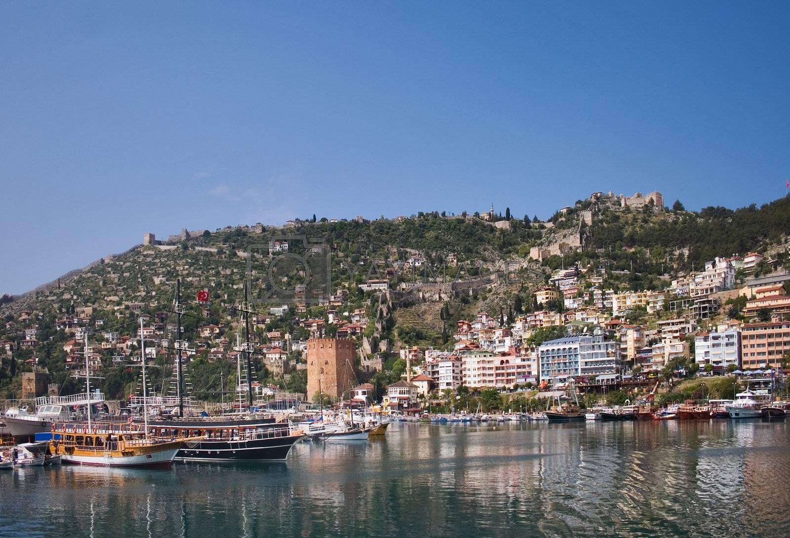 Yacht port in Turkey, sunny mediterranean harbour view.