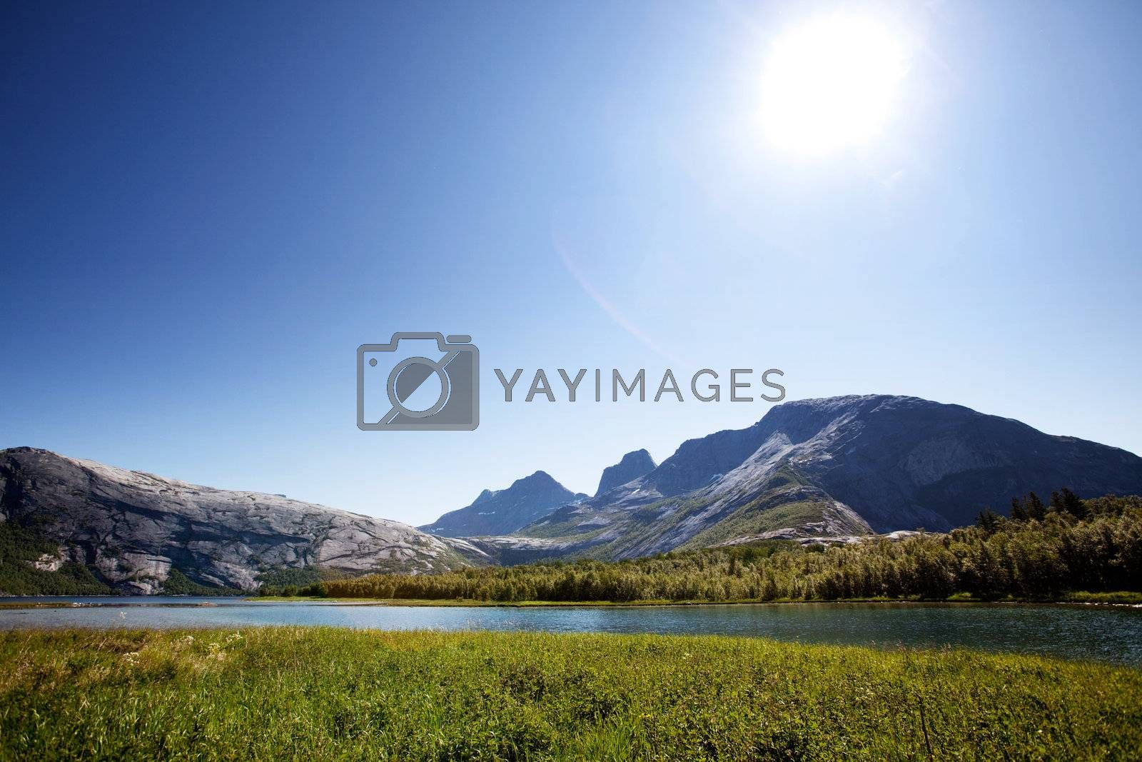 A lake landscape with moutain in northern Norway