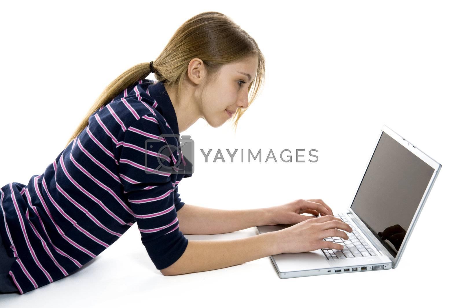 Woman using a modern laptop computer.