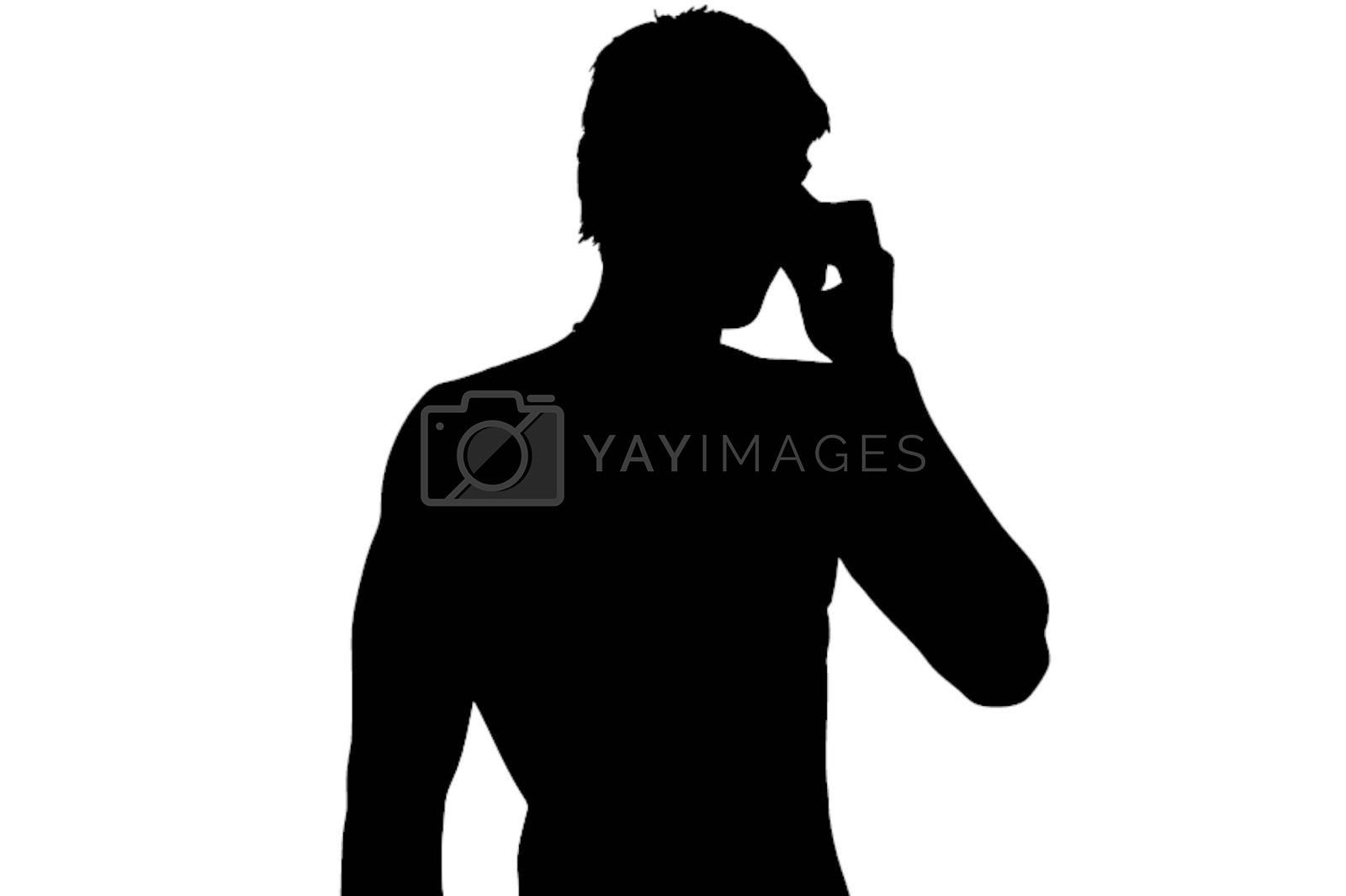 Figure youth who speaks on his mobile phone
