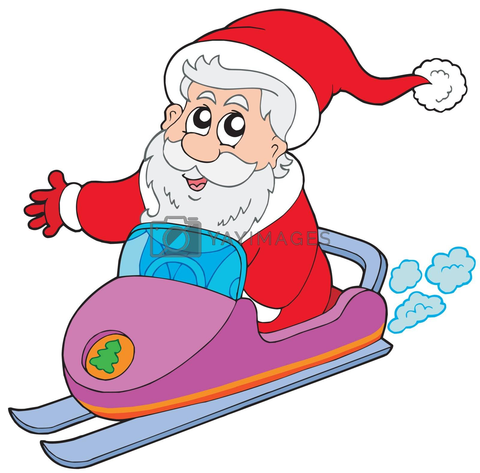 Santa Claus on scooter - vector illustration.