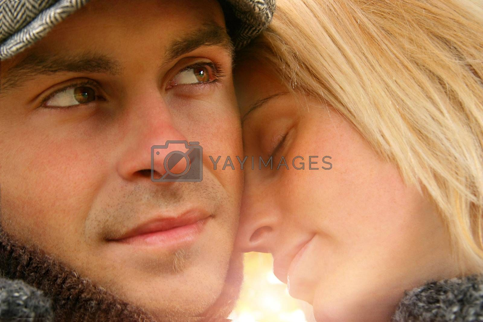 Young couple in love embracing