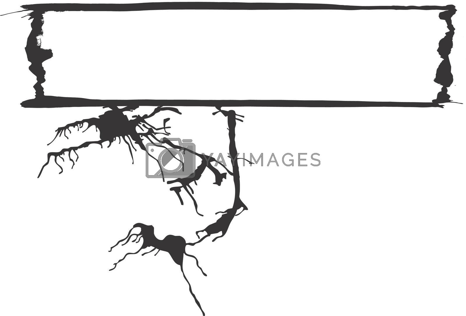 Abstract expressionist banner space with spilled ink designs. Space for text.