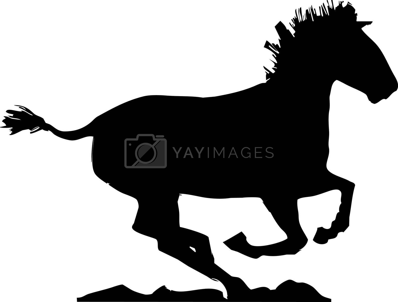 A Mongolian horse gallops to the right of the image.