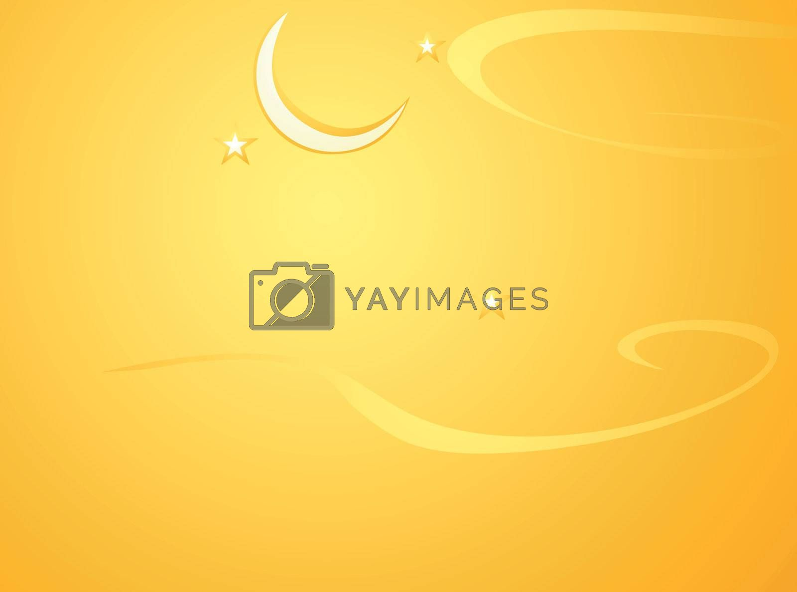 Softly orange colored desktop background, halloween themed with crescent moon.