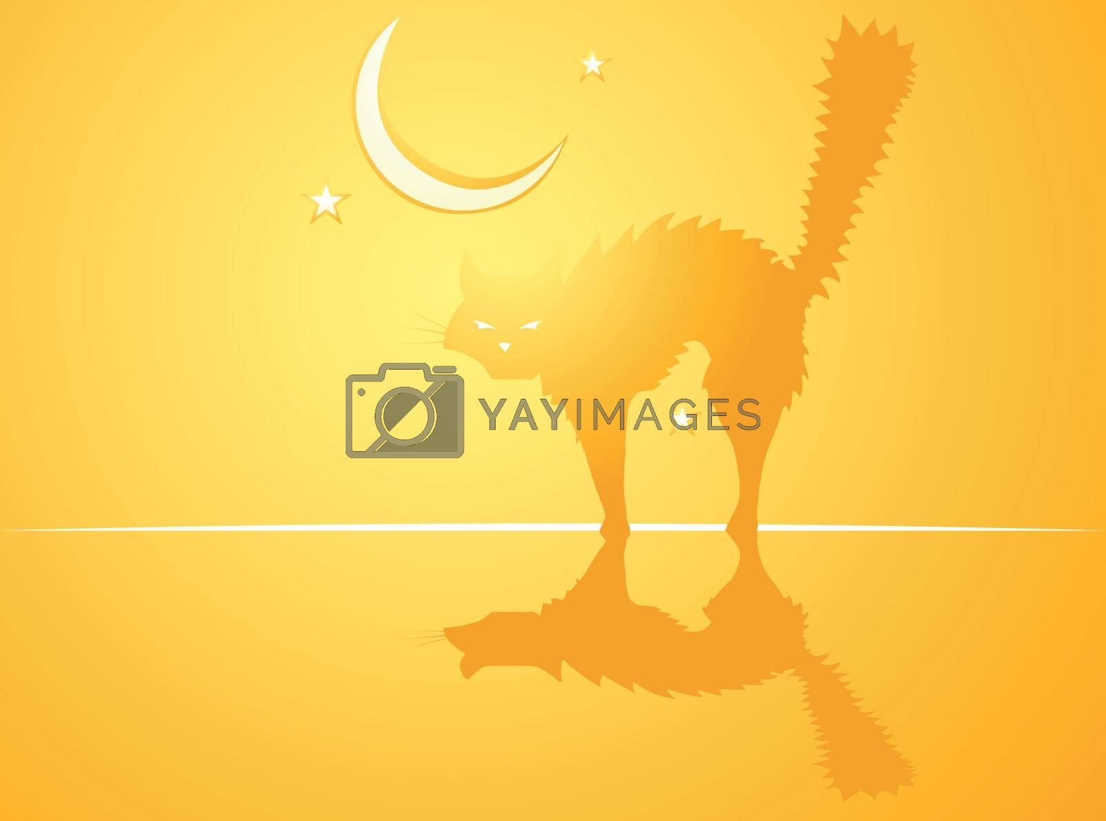 Softly orange colored desktop background, halloween themed with witch's cat.