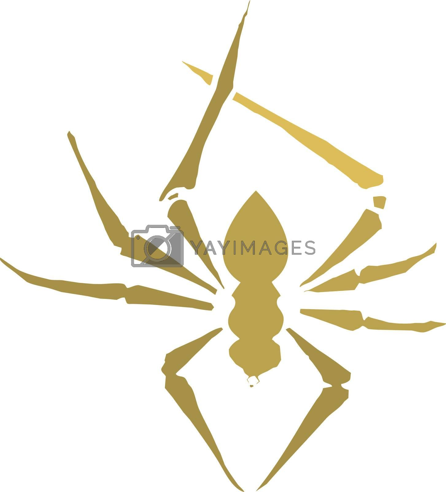 Small spider in Silhouette in orange and brown.