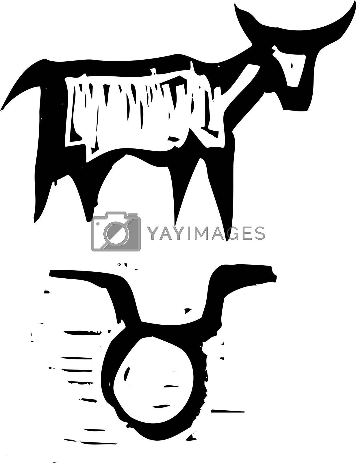 Primitive woodcut style zodiac sign of Taurus. Part of a series.