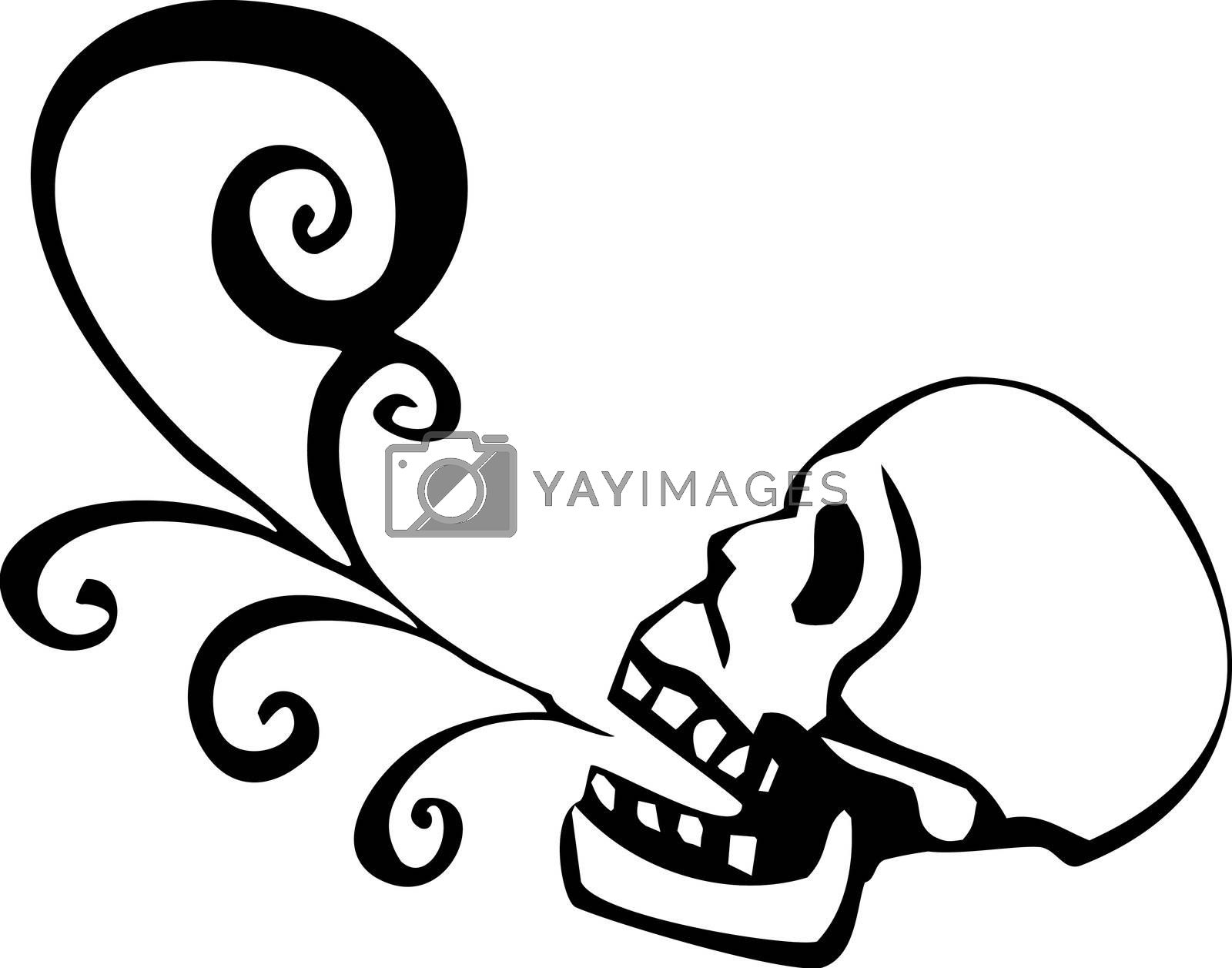 Skull with aztec speech scroll rolling out of its mouth.
