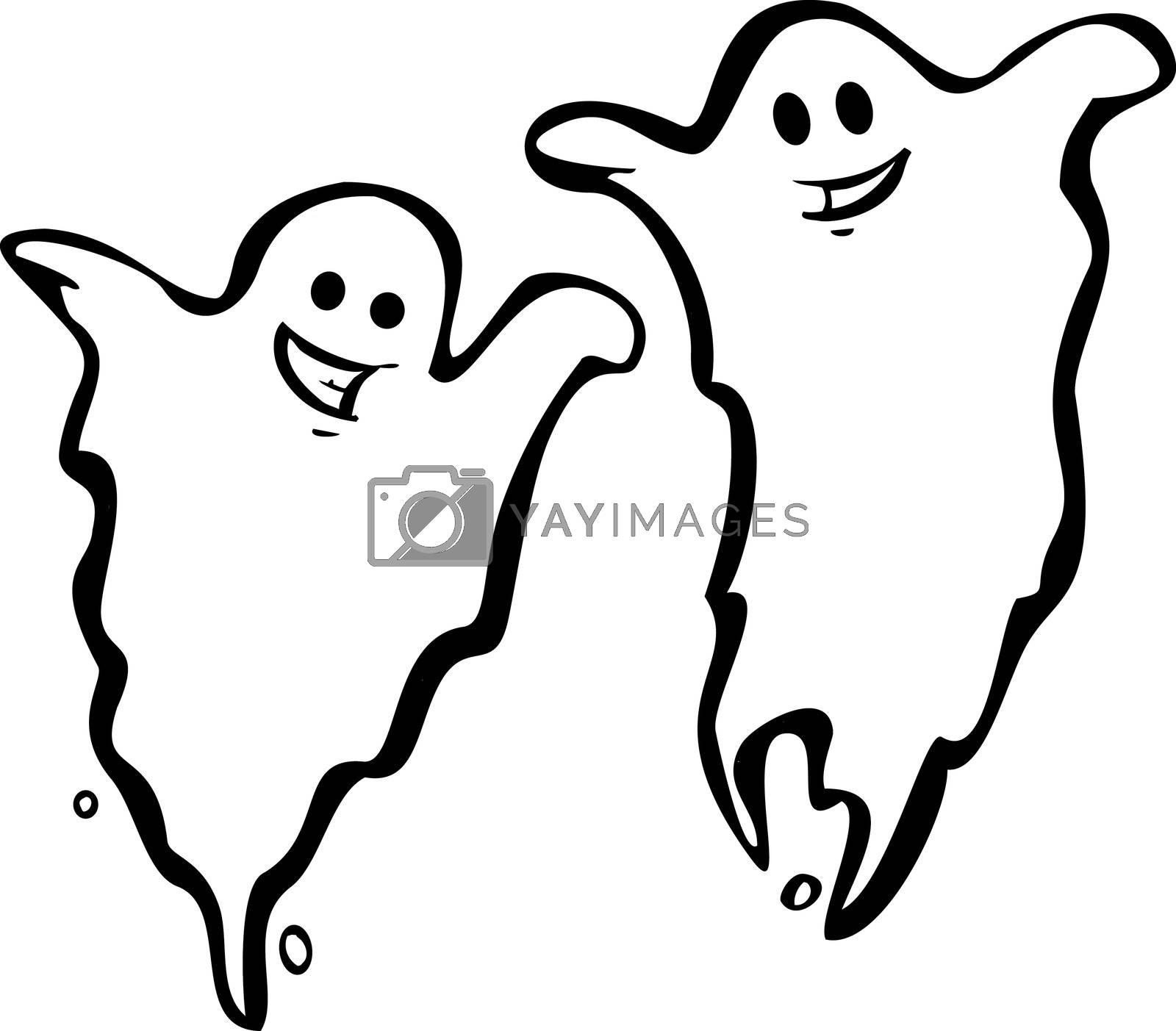 A Pair of fun Halloween Night Ghosts.