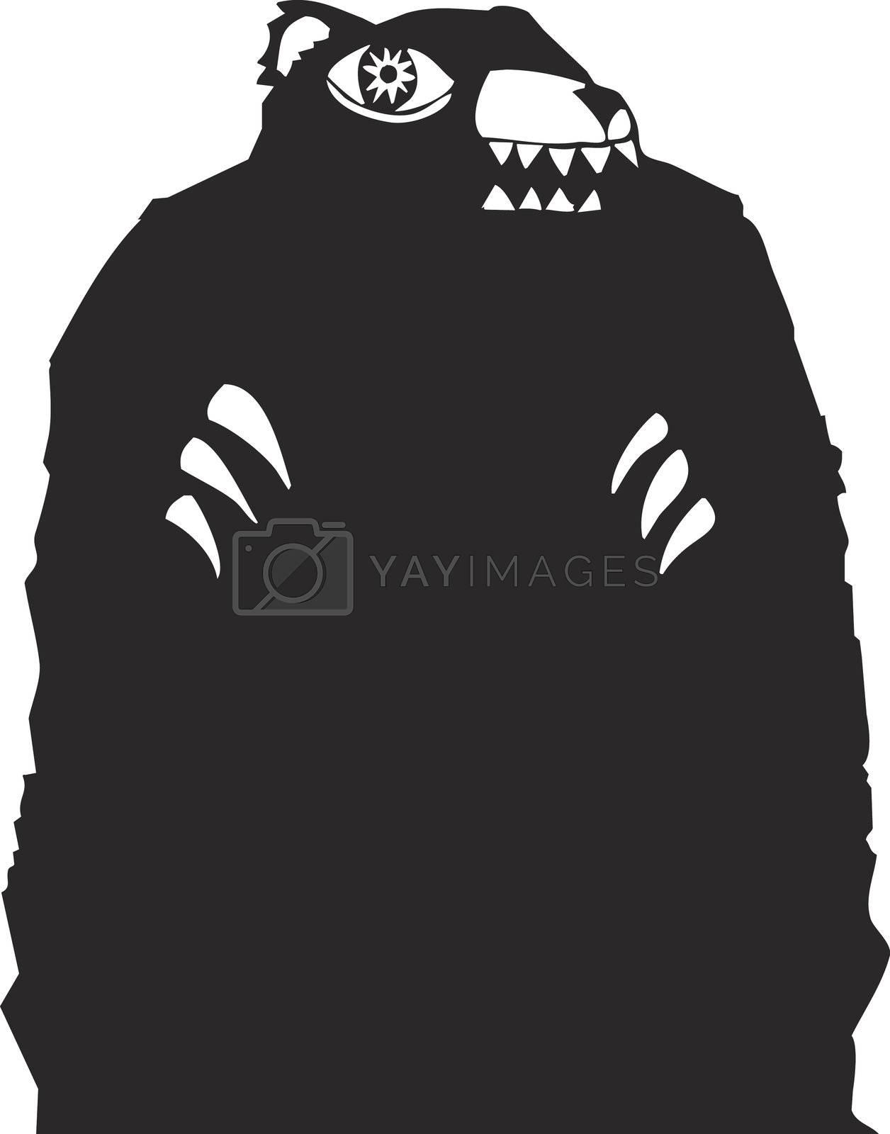 Black bear woodcut looming in a nightmare.