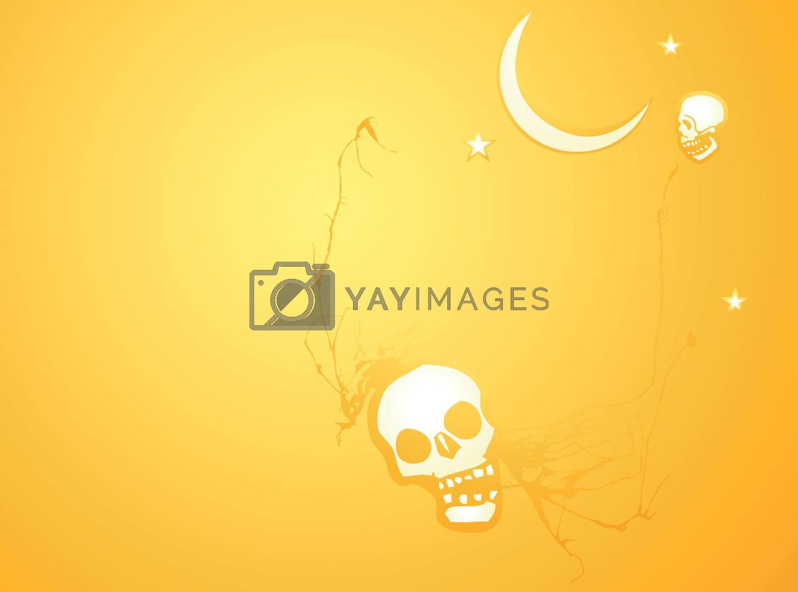 Softly orange colored desktop background, halloween themed with skulls.