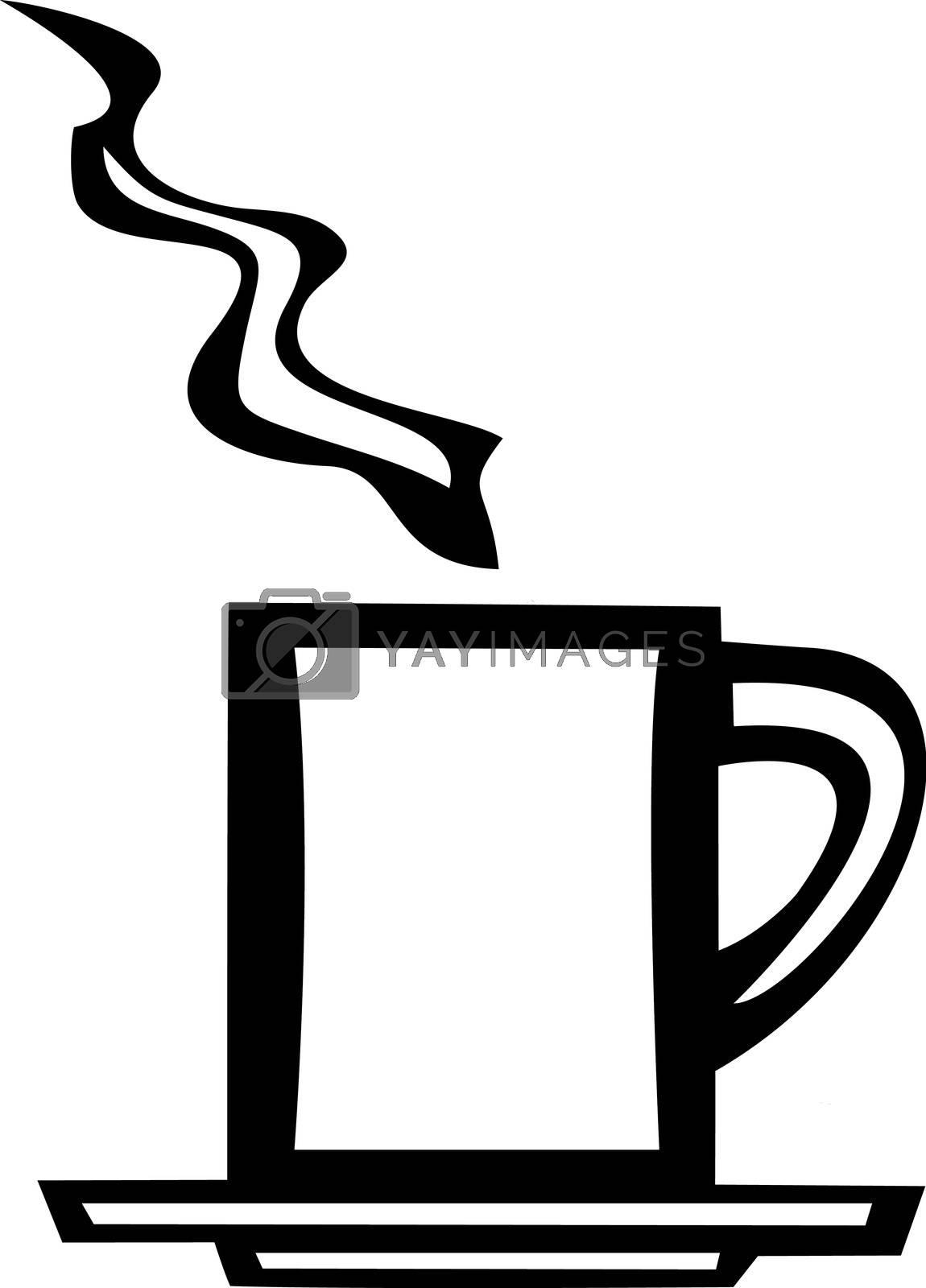 smooth white vector image of a coffee mug.