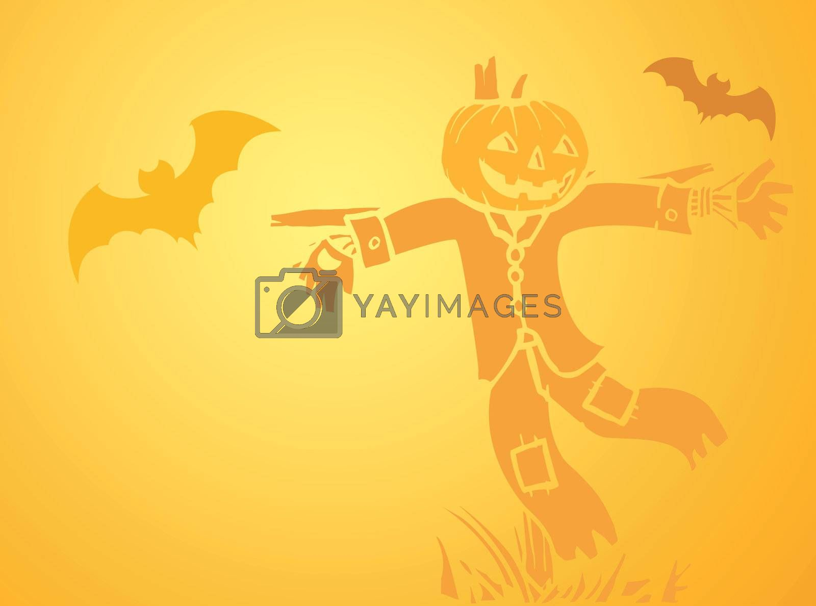 Softly orange colored desktop background, halloween themed with bats and a scarecrow.