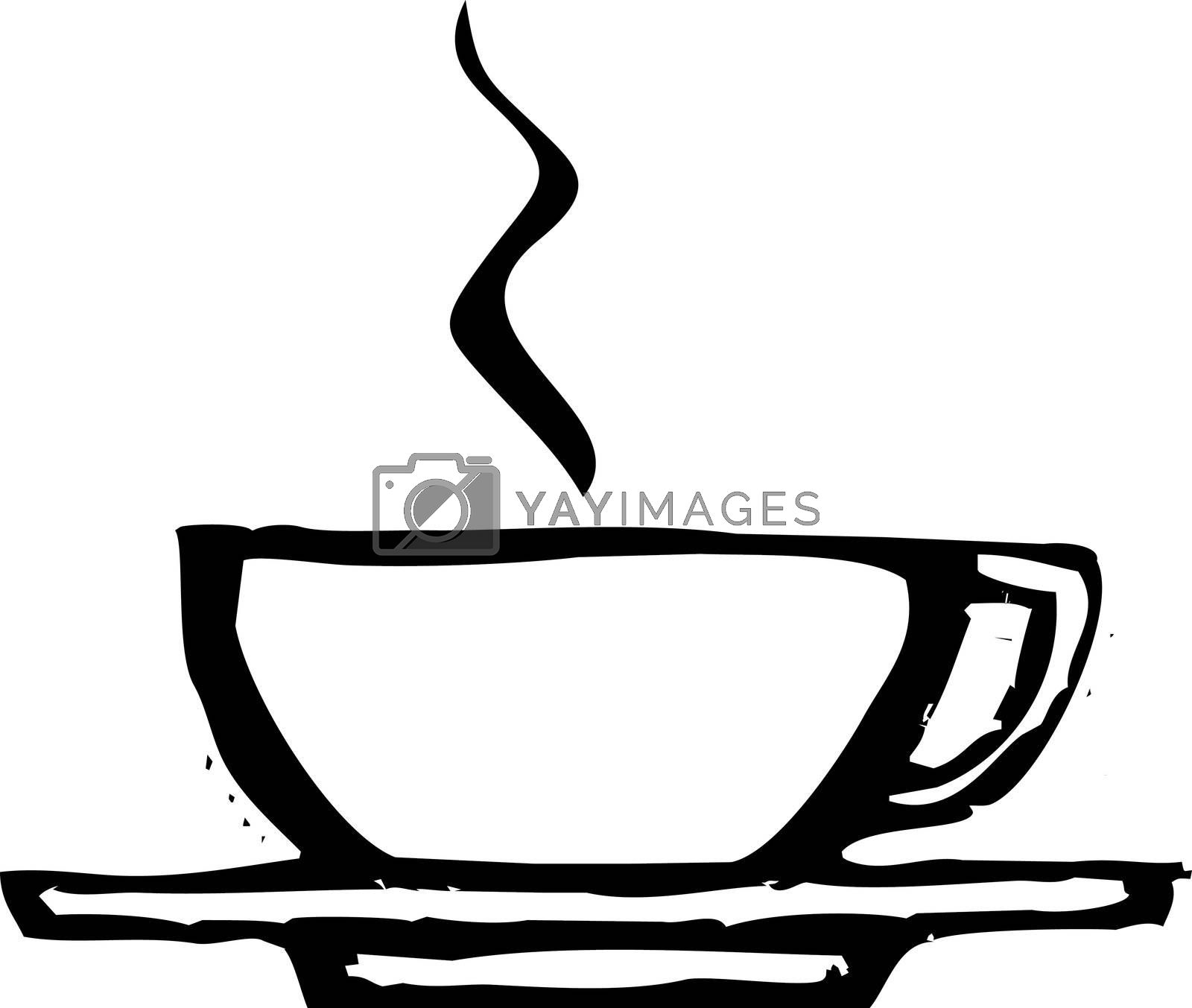 rough woodcut image of a coffee or espresso cup.