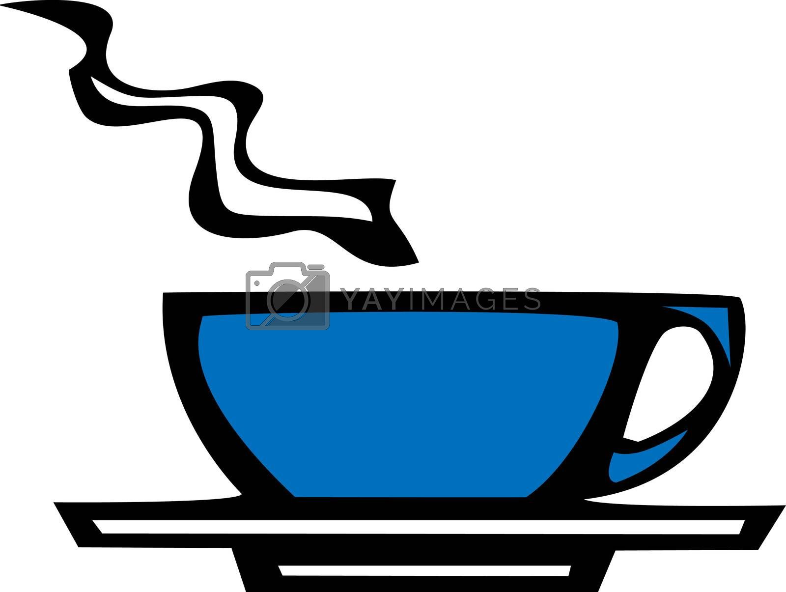 smooth vectored blue coffee or espresso cup.