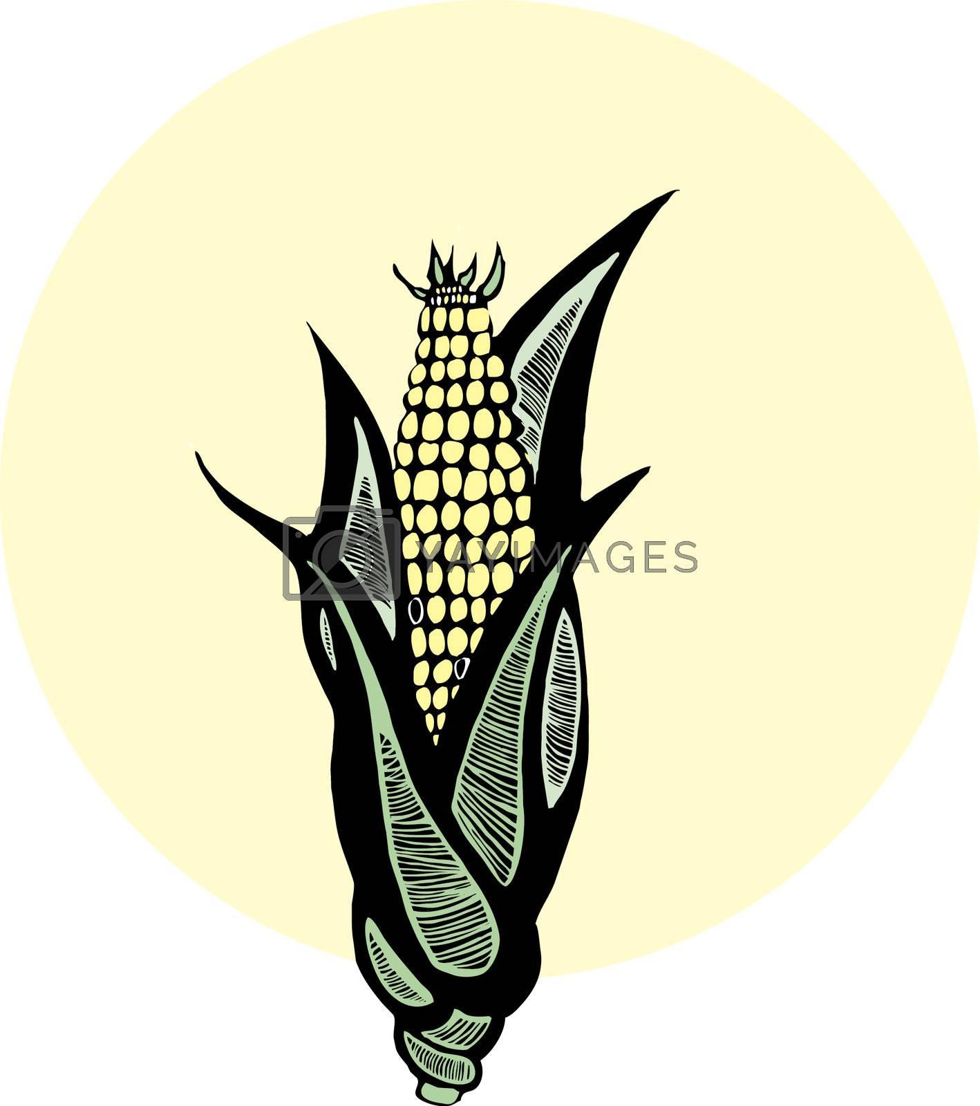 Woodcut Corn by Xochicalco