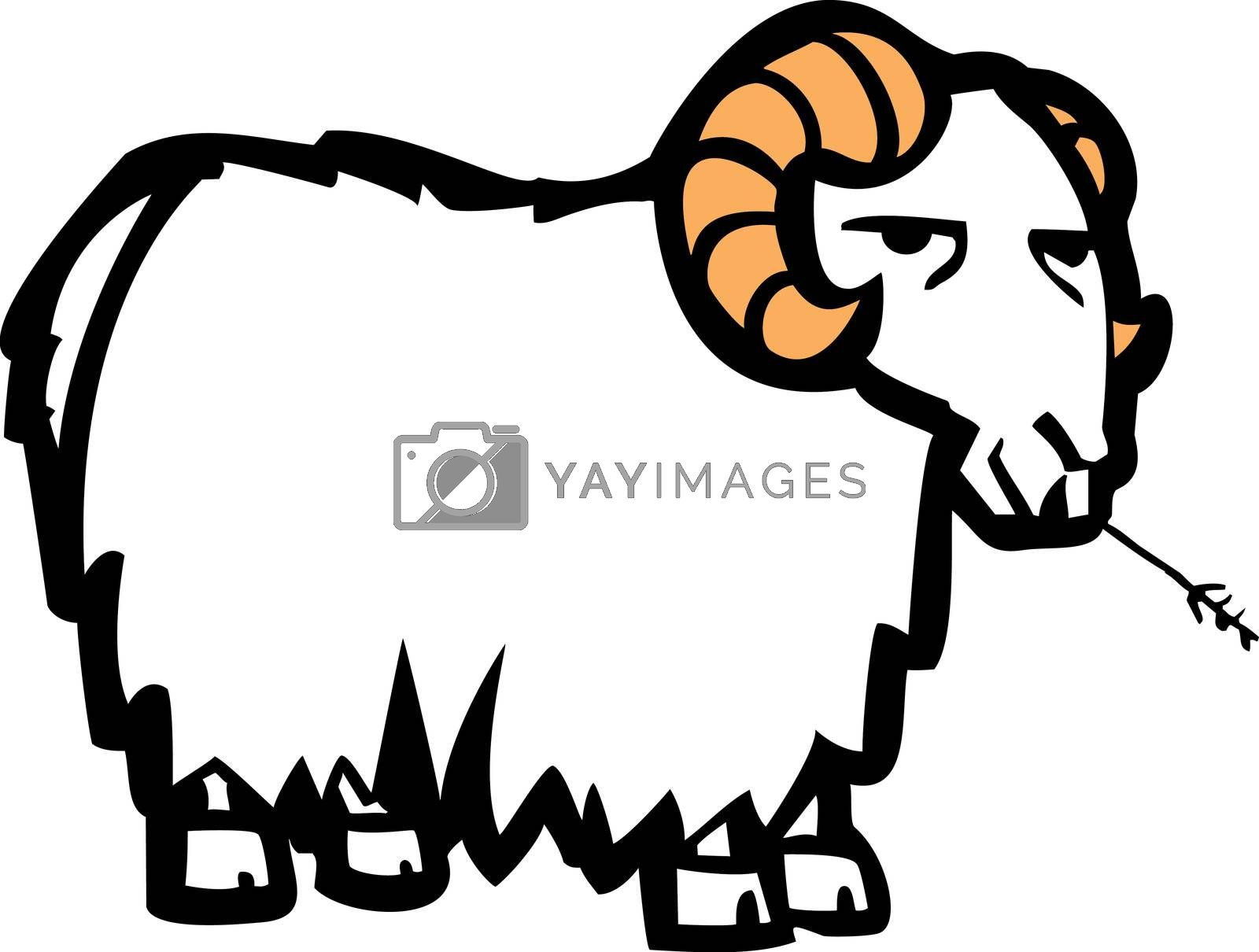 Long wool coated cartoon goat chewing on a blade of grass.