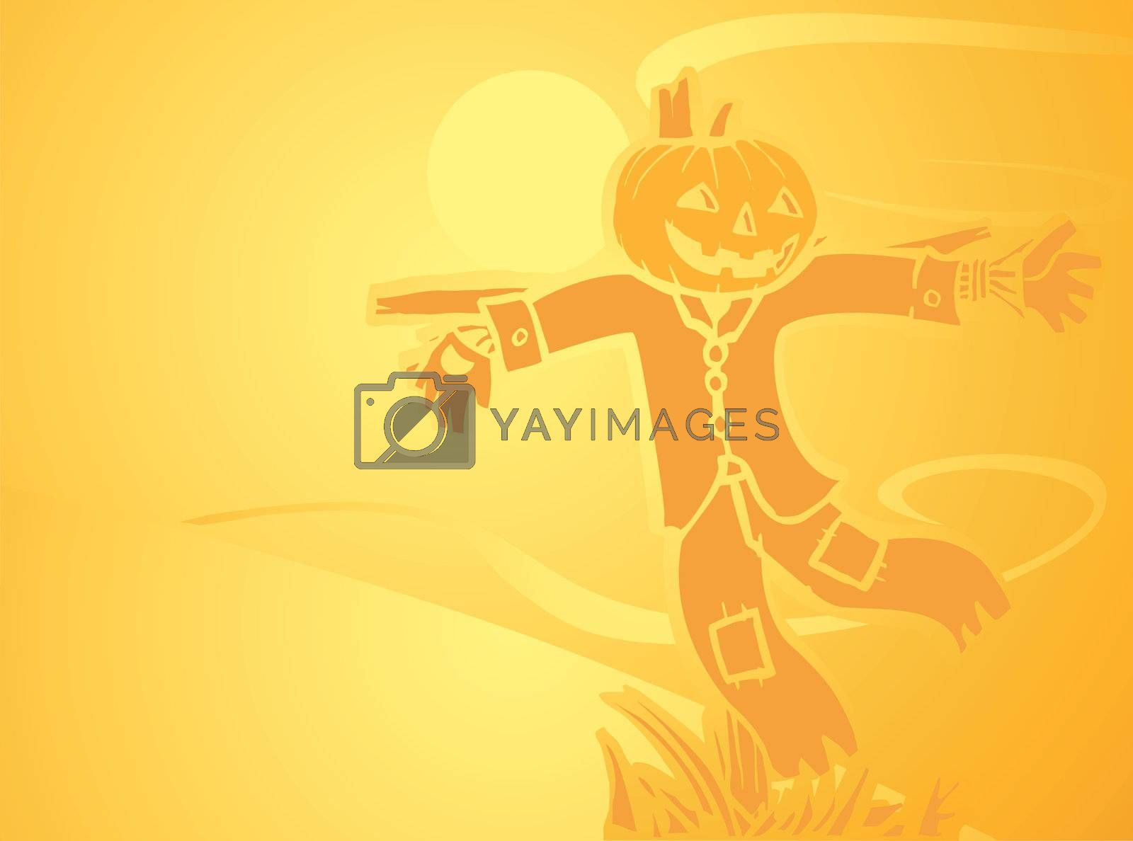 Softly orange colored desktop background, halloween themed with a scarecrow.