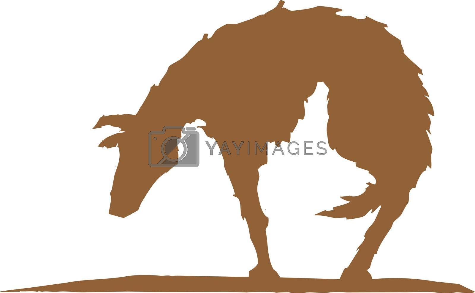 Silhouette of a hungry and sad dog.