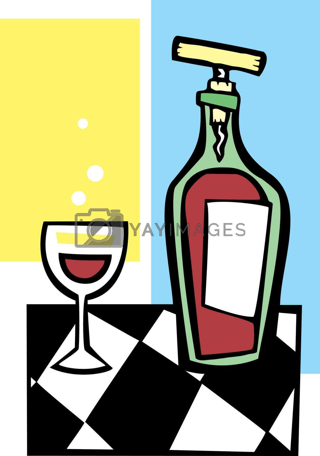 Retro Wine and Glass #1 by Xochicalco
