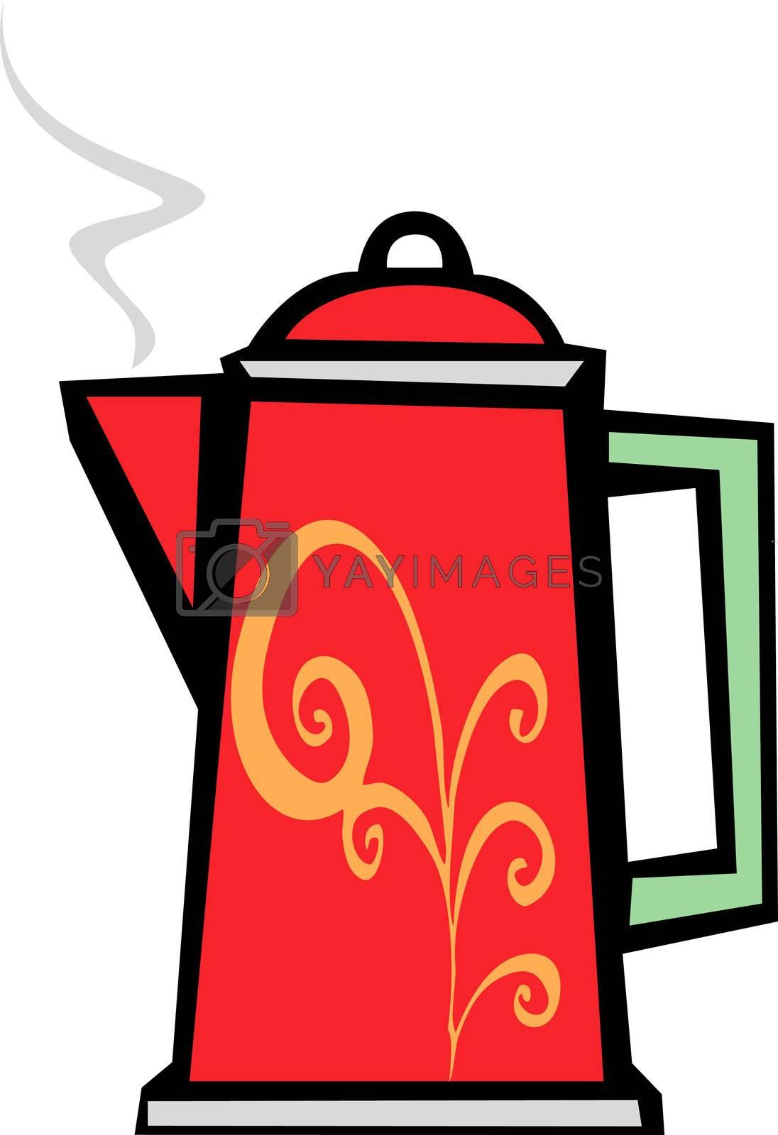 Red Swirl Coffee Pot by Xochicalco
