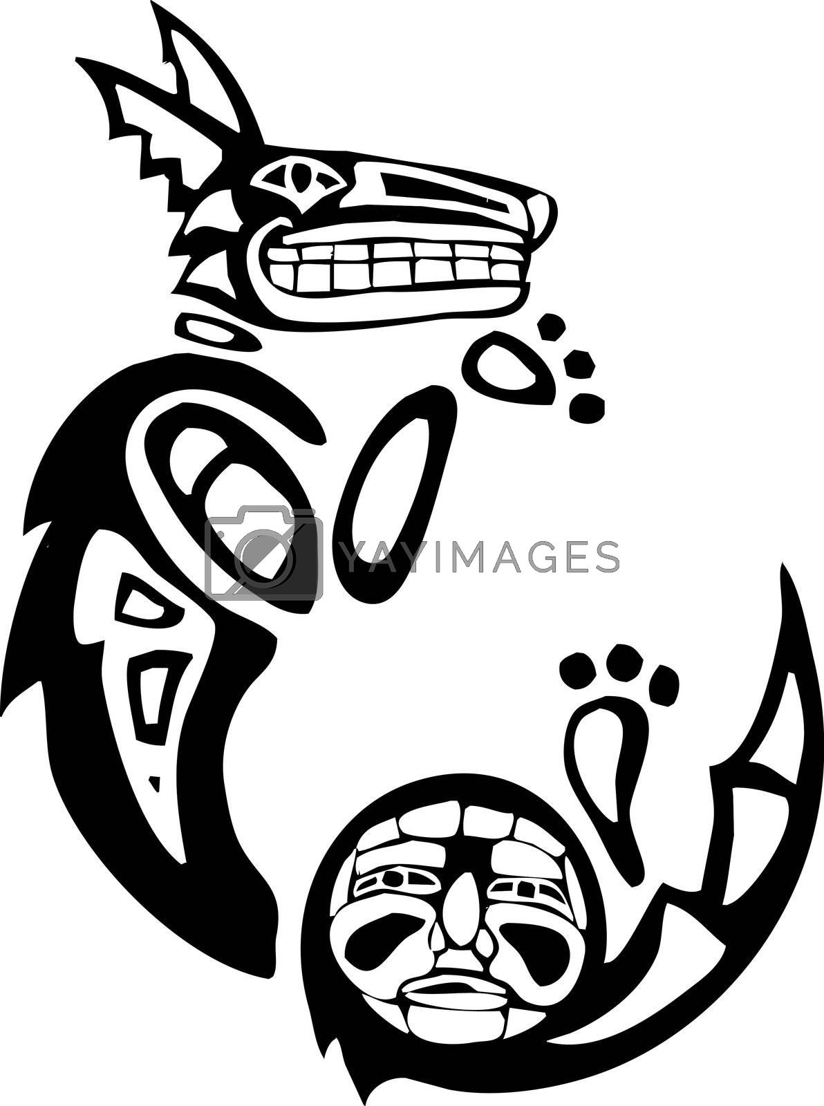 Curled Mythical Coyote rendered in Northwest Coast Native style.