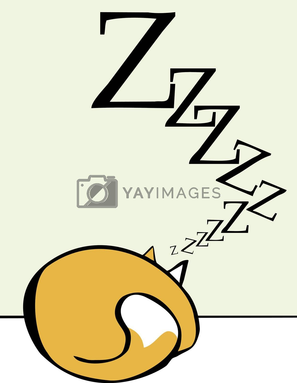 Cartoon of a sleeping rolled up into a ball.